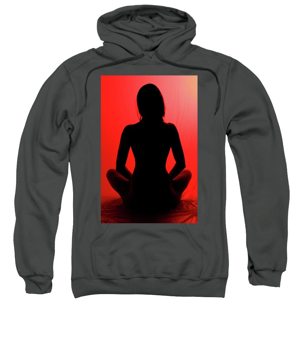 Silhouette Sweatshirt featuring the digital art Silhouette In Red #1 by Dan Stone