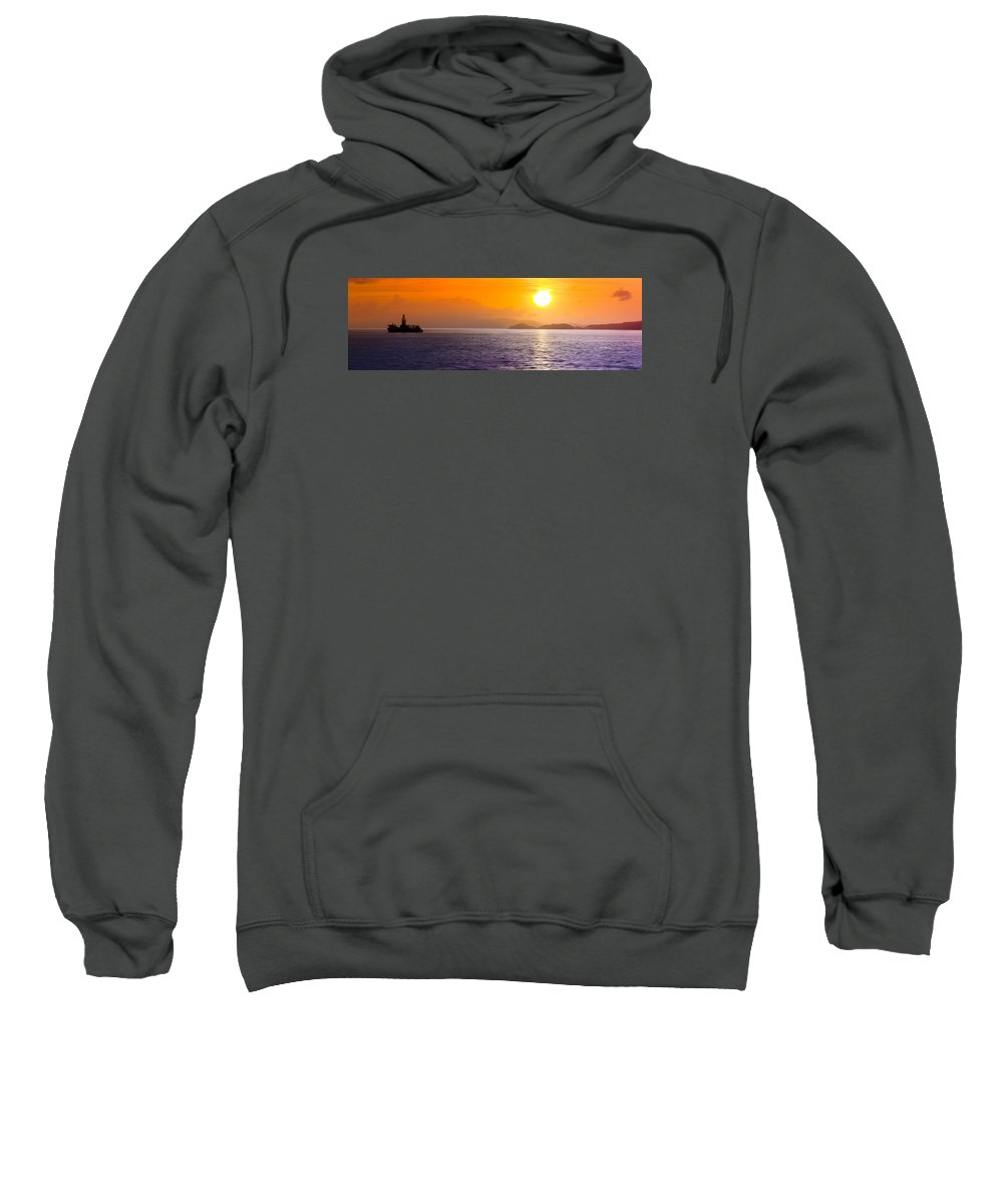Silhouette Sweatshirt featuring the photograph Silhouetted Ship by Will Akers