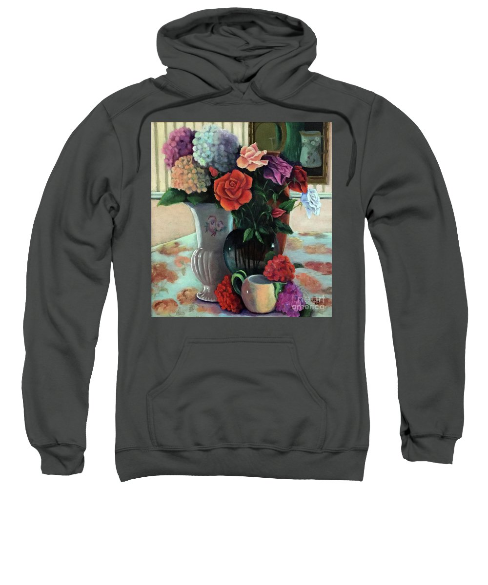 Still Life Sweatshirt featuring the painting Silk Flowers by Marlene Book