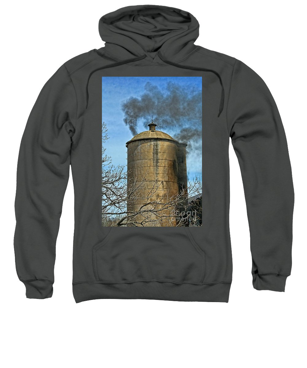 Firefighting Sweatshirt featuring the photograph Silo Fire Venting by Tommy Anderson