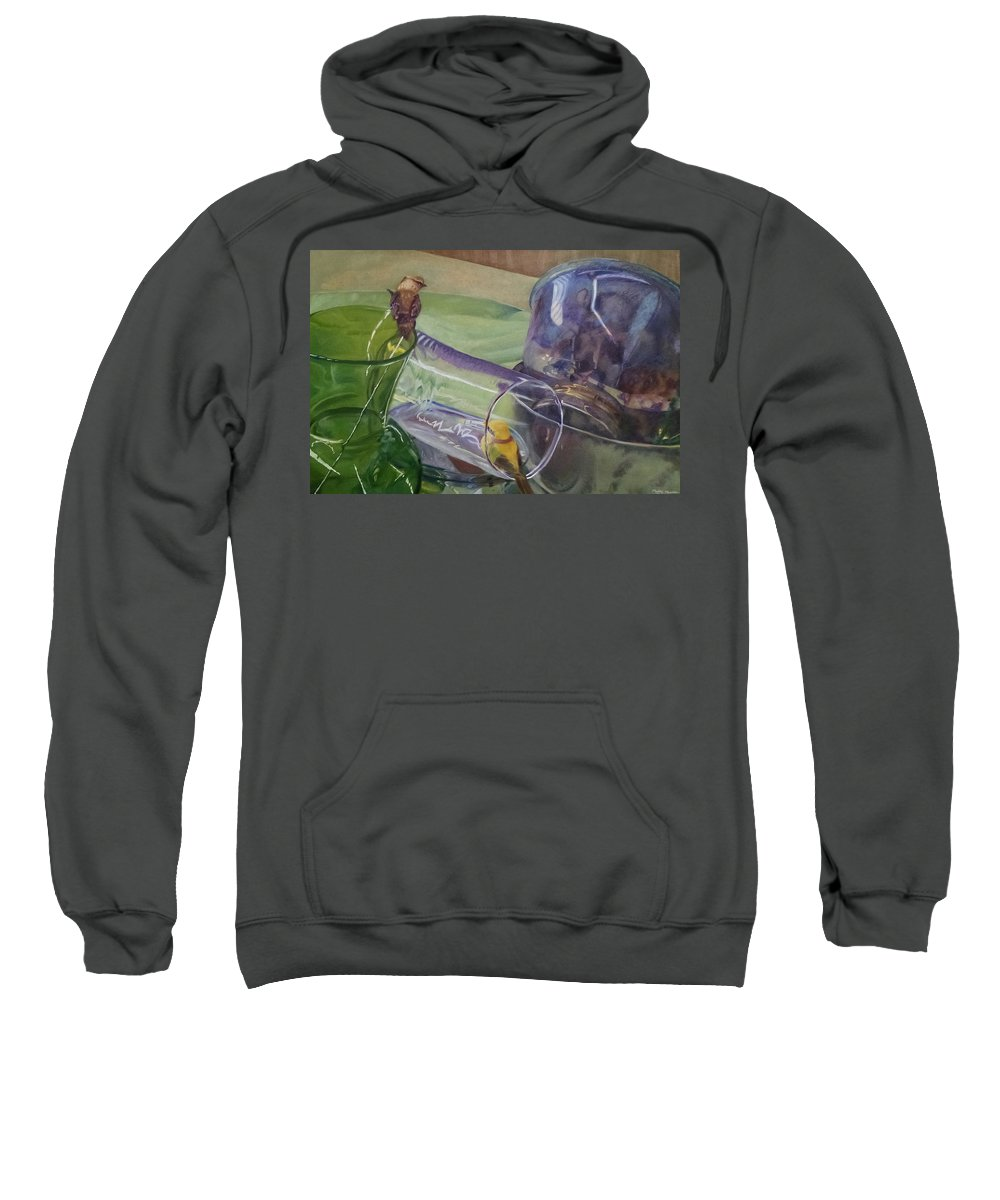 Bowls Sweatshirt featuring the painting Silver Bowls by Maddie Morriss