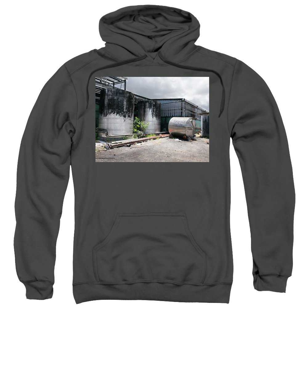 Tank Sweatshirt featuring the photograph Silver Tanks In Factory by Joe Maggio