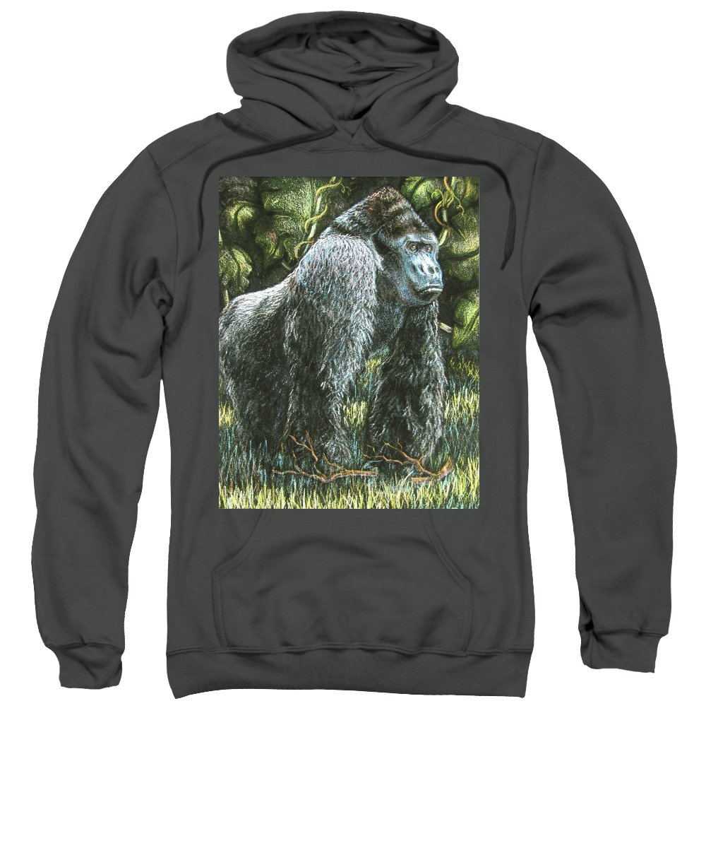 Fuqua - Artwork Sweatshirt featuring the drawing Silverback-king Of The Mountain Mist by Beverly Fuqua