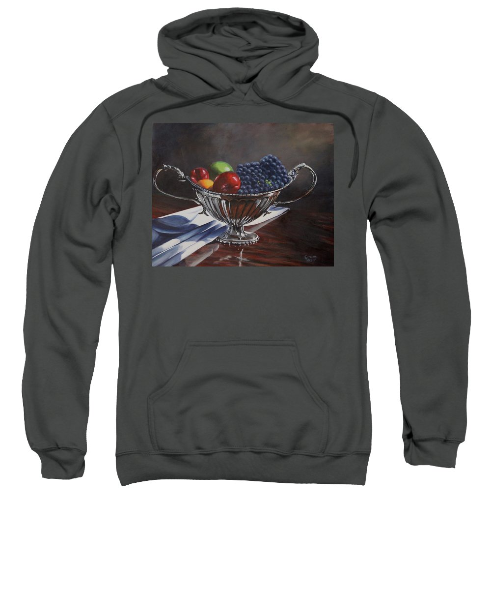 Silver Bowl Silver Bowl Sweatshirt featuring the painting Silvered Fruit by Lorraine Vatcher