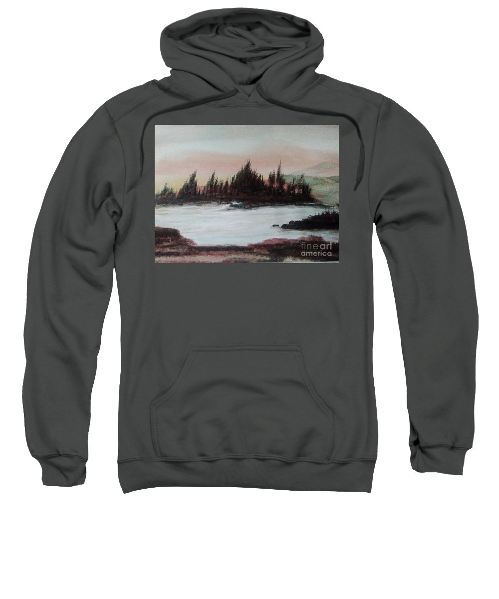 Landscape Sweatshirt featuring the painting Silverlake by Loretta Kessler