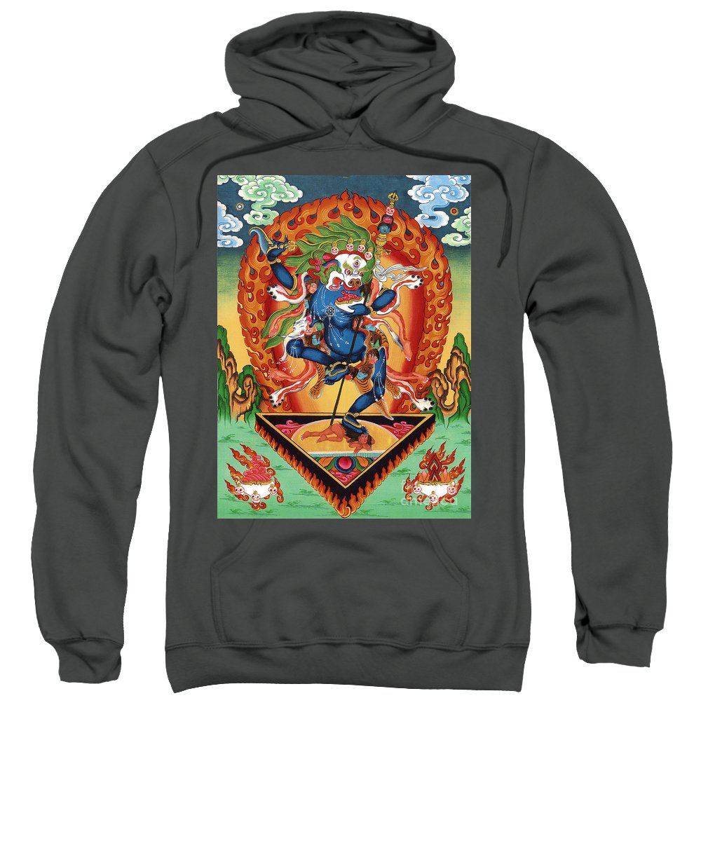 Thangka Sweatshirt featuring the painting Simhamukha - Lion Face Dakini by Sergey Noskov