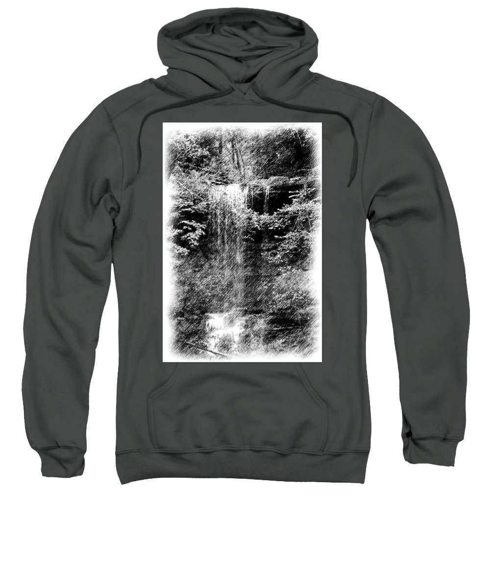 Digital Photograph Sweatshirt featuring the photograph Simulated Pencil Drawing Tinker Falls. by David Lane