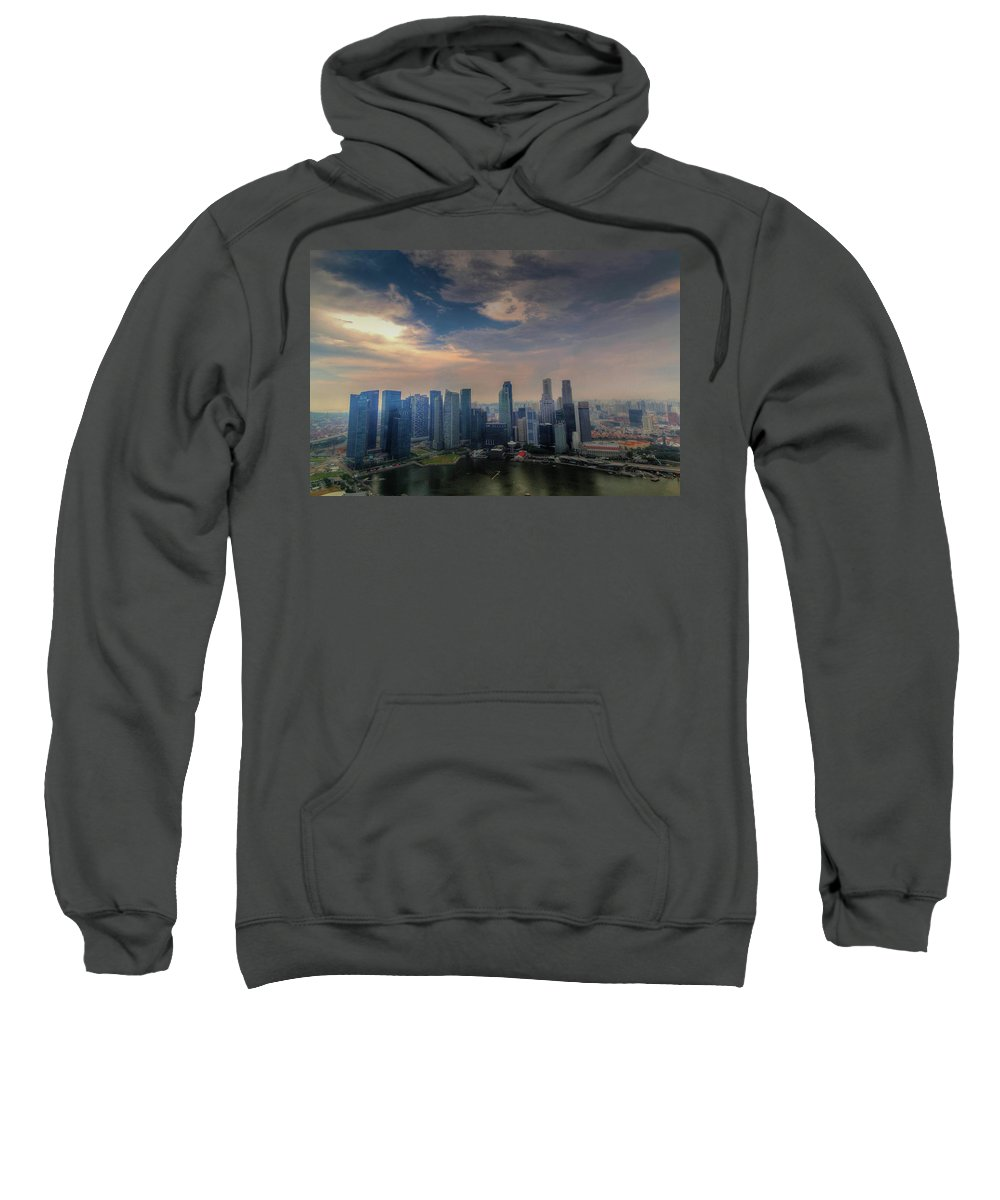 Singapore Sweatshirt featuring the photograph Singapore Skyline by Janet Giles