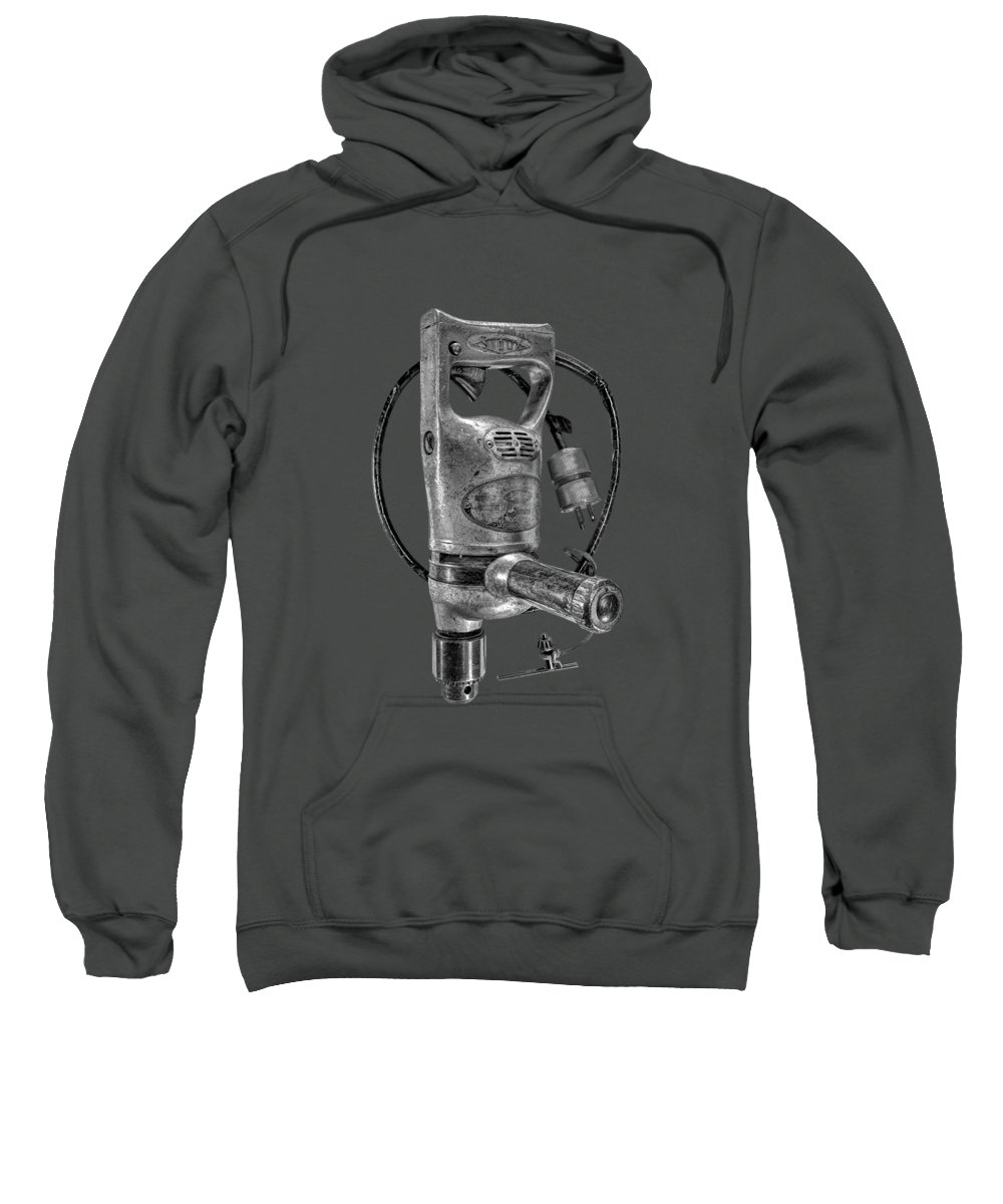 Antique Sweatshirt featuring the photograph Sioux Drill Motor 1/2 Inch Bw by YoPedro