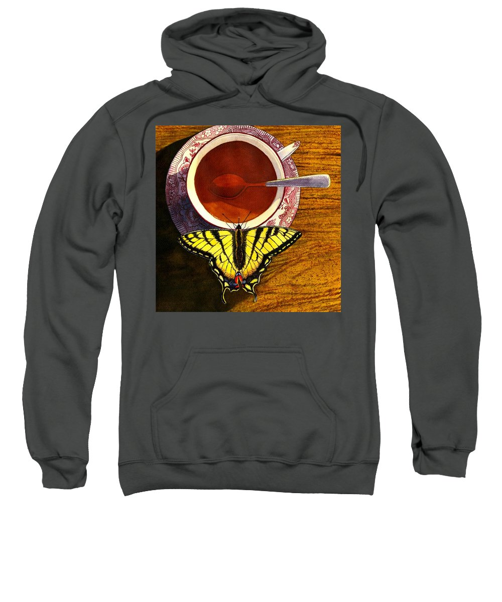 Butterfly Sweatshirt featuring the painting Sippin by Catherine G McElroy