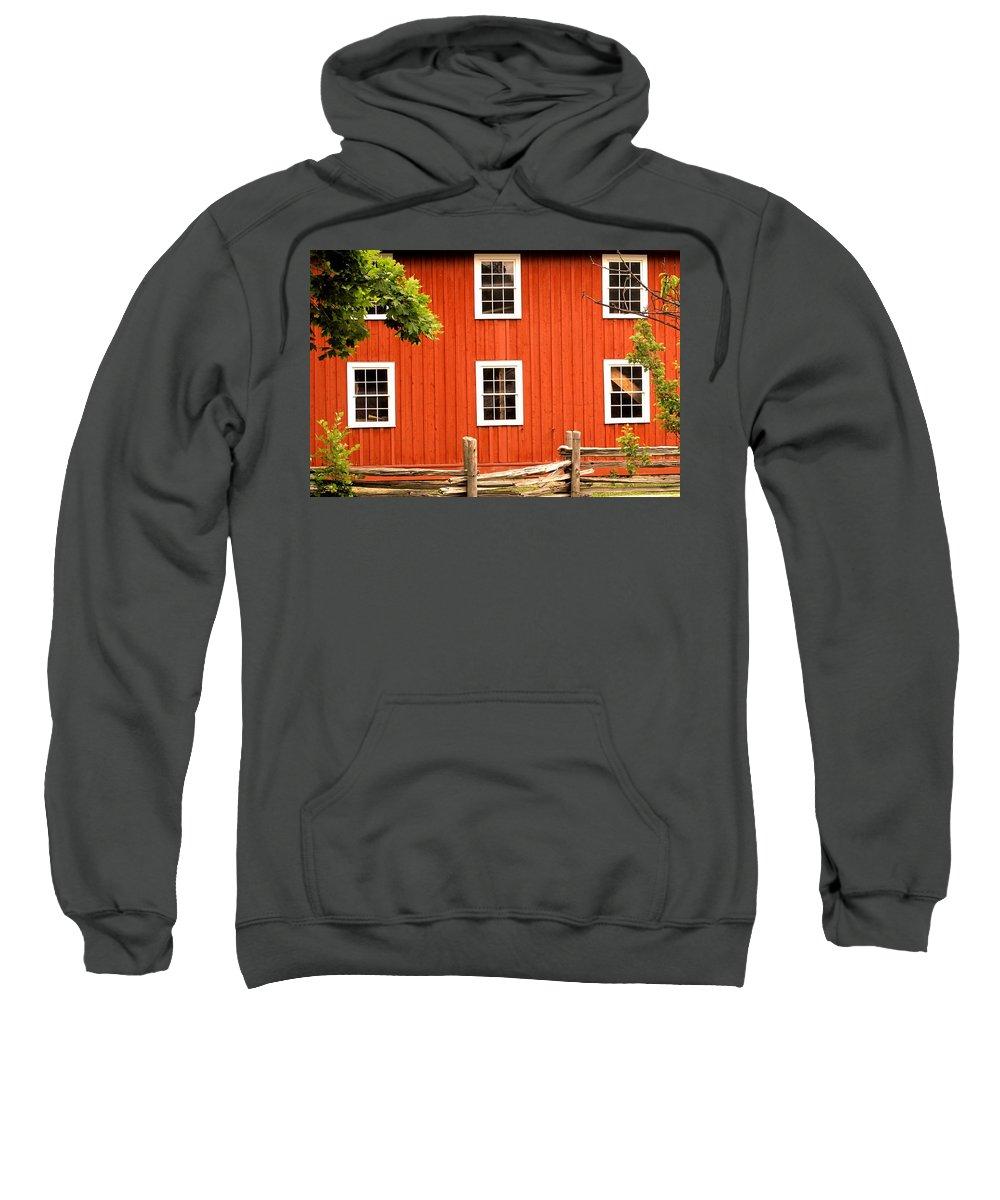 Red Wall Sweatshirt featuring the photograph Six Windows by Ian MacDonald