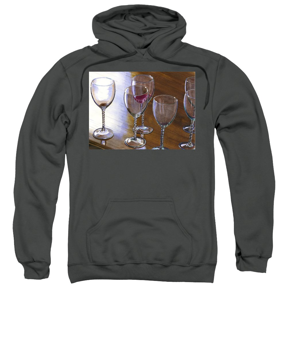 Glasses Sweatshirt featuring the painting Six Wine Glasses by Catherine G McElroy