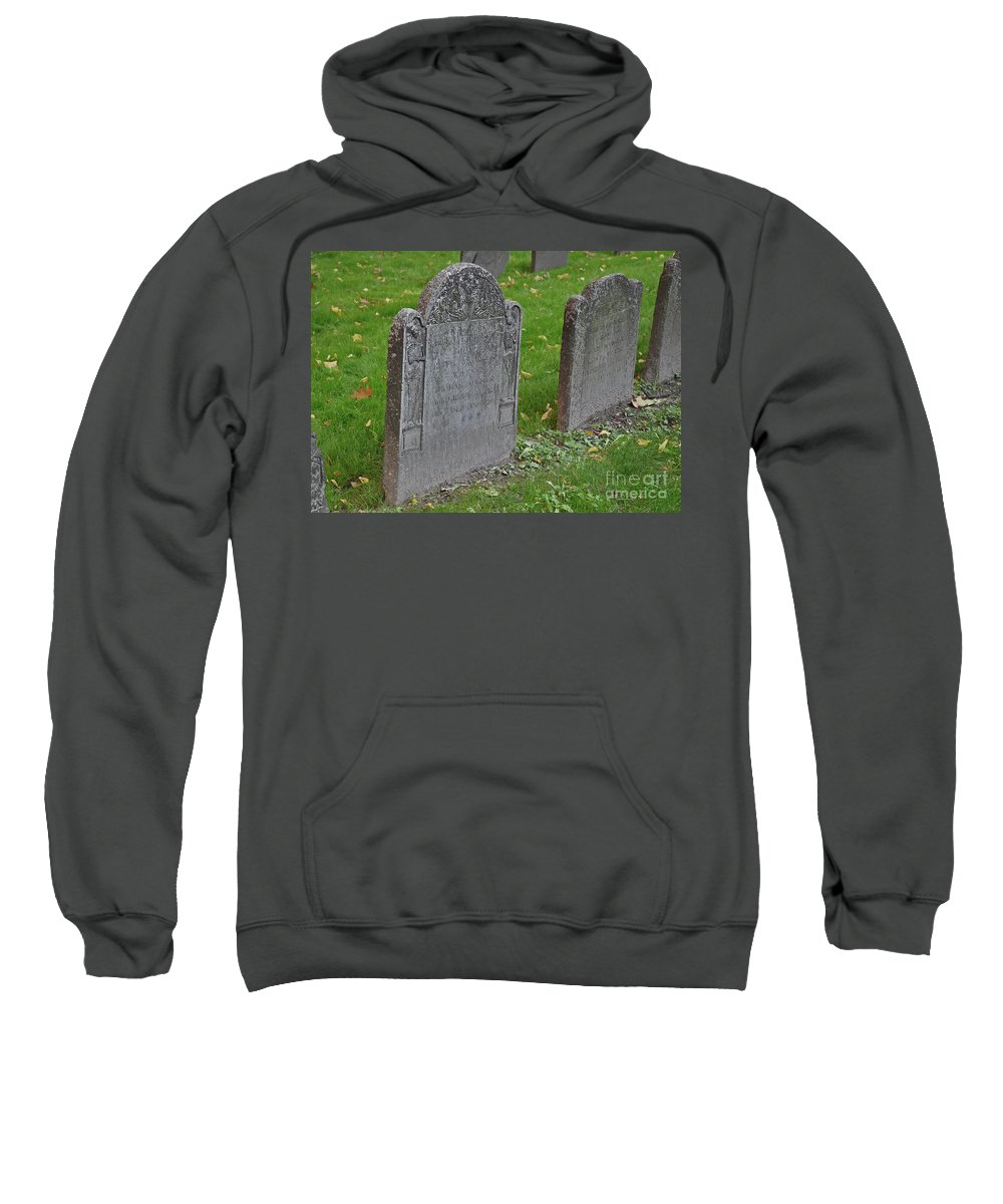 Boston Sweatshirt featuring the photograph Skeleton Tombstone 1600s by Brittany Horton