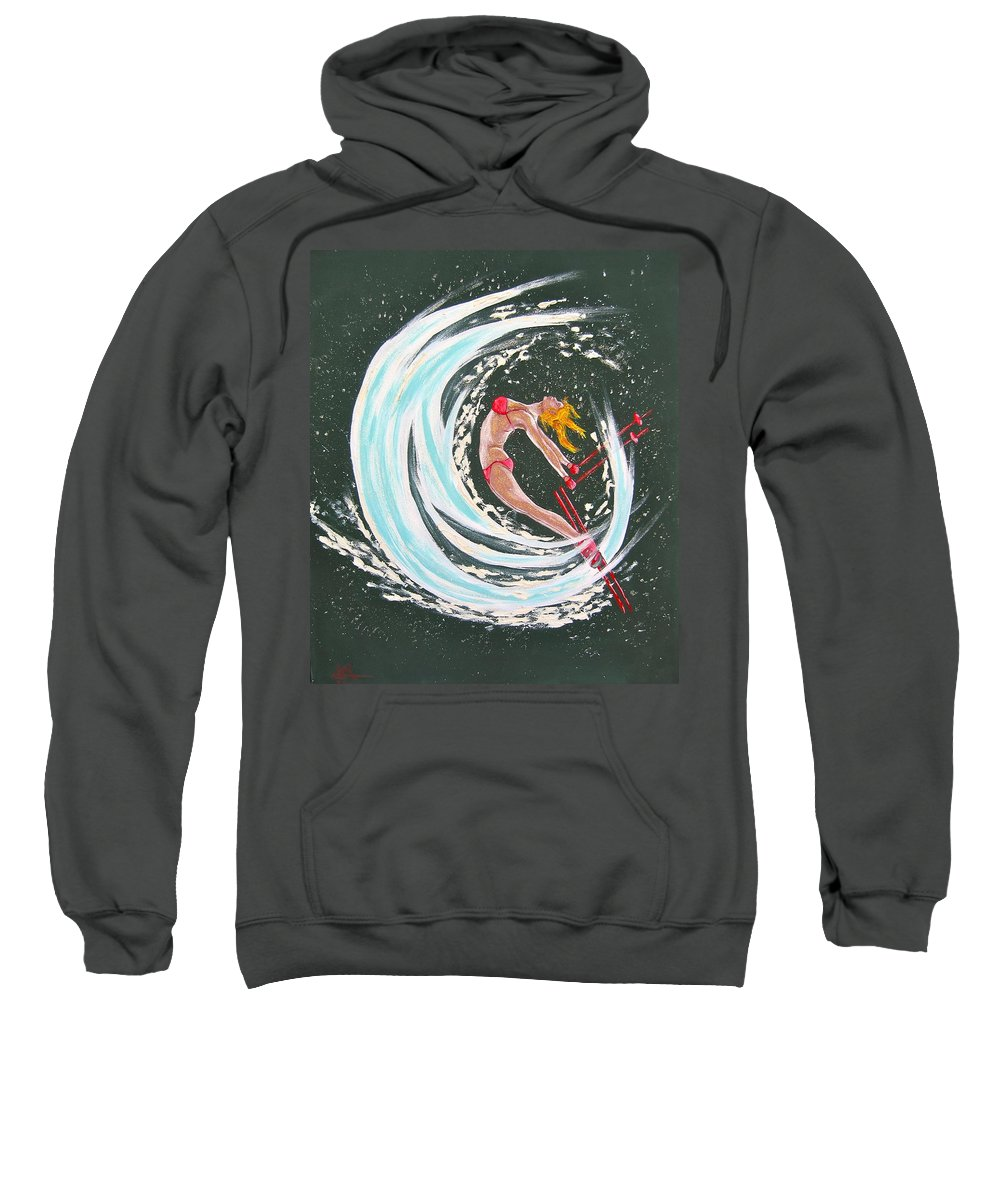 Abstract Sports Sweatshirt featuring the painting Ski Bunny by V Boge