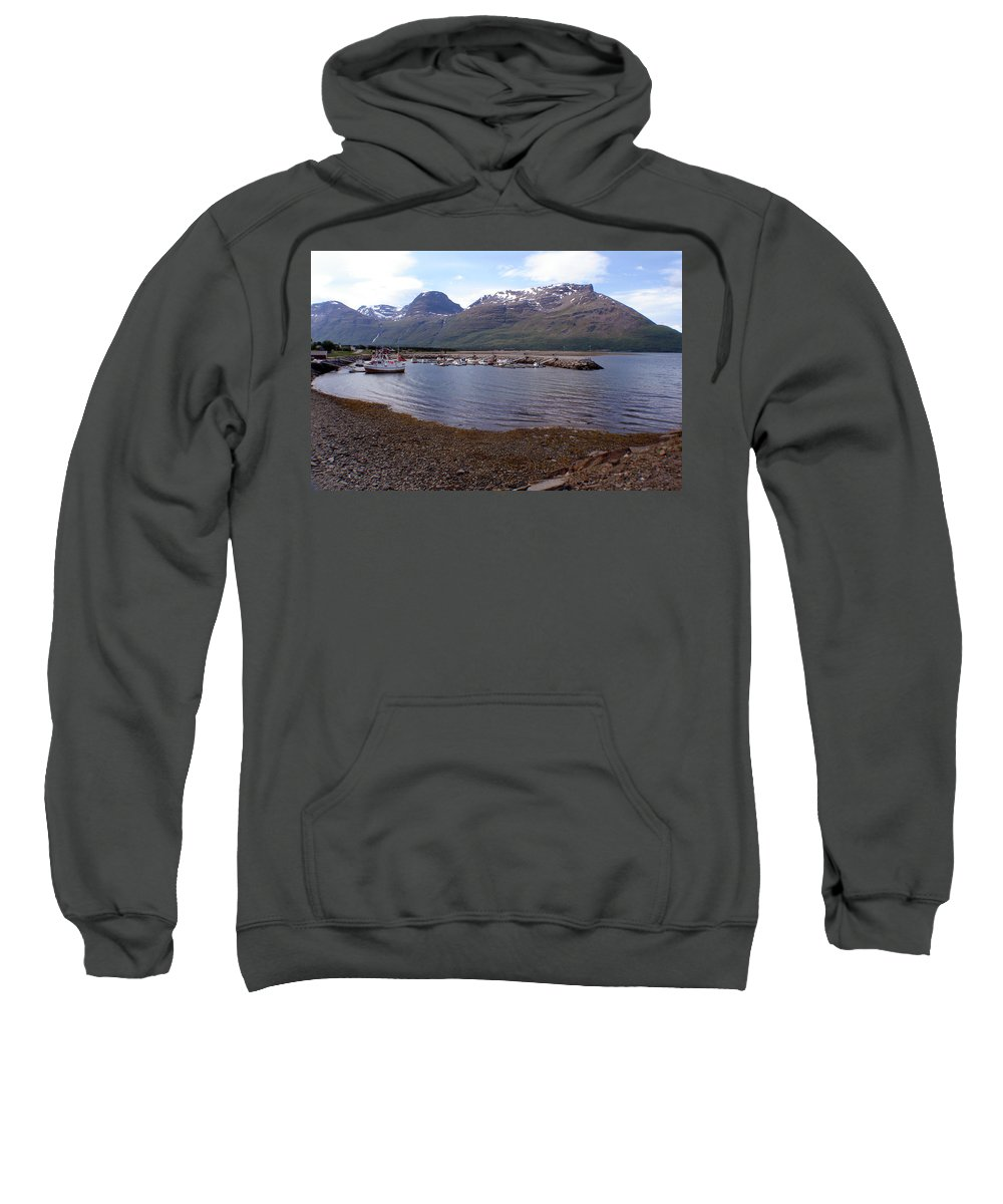 Skibotn Sweatshirt featuring the photograph Skibotn Harbor Norway by Merja Waters