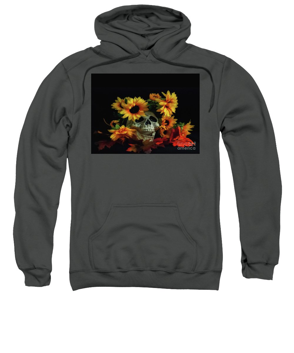 Halloween Sweatshirt featuring the photograph Skull And Flowers by Scott Hervieux