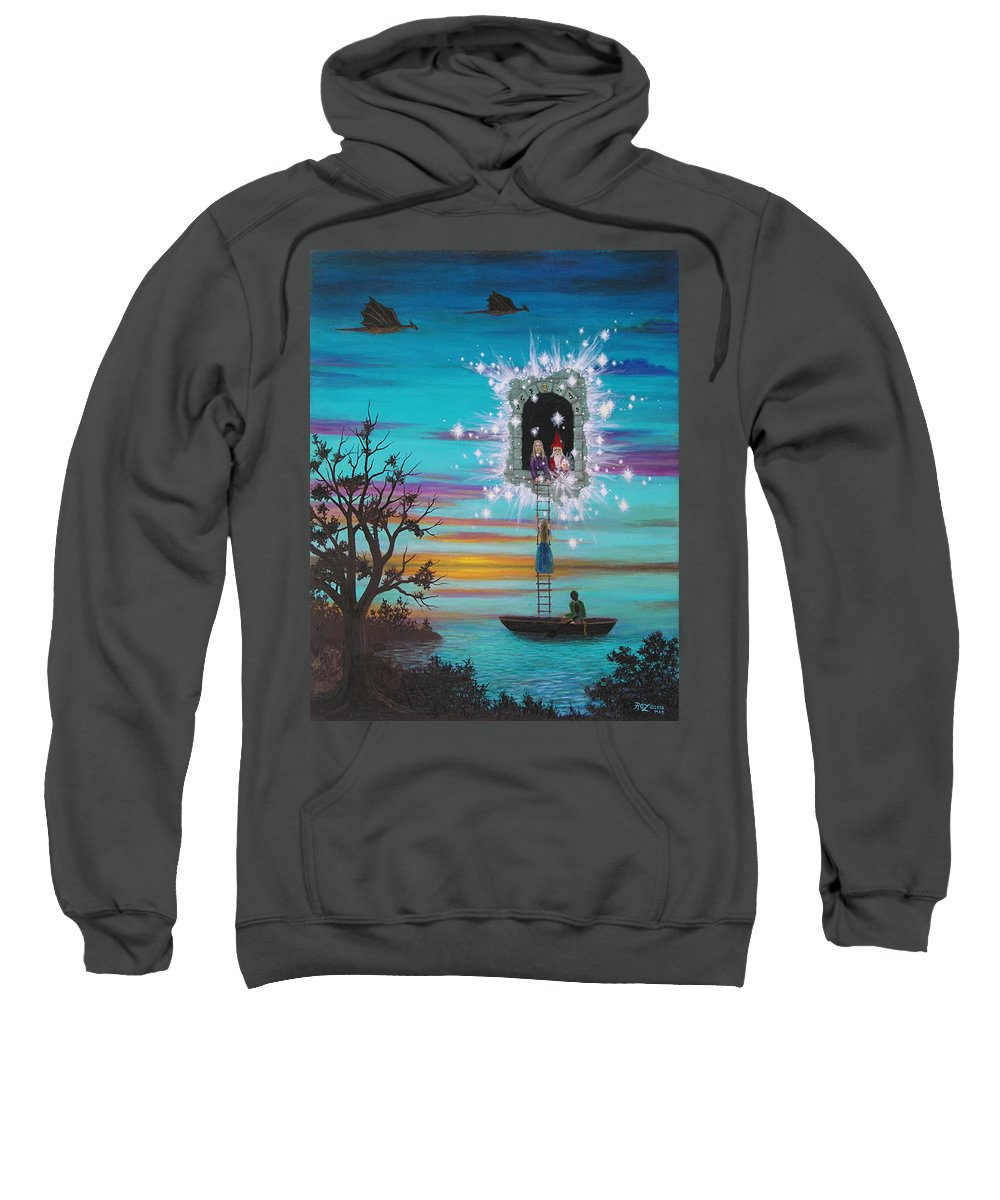 Fantasy Sweatshirt featuring the painting Sky Window by Roz Eve