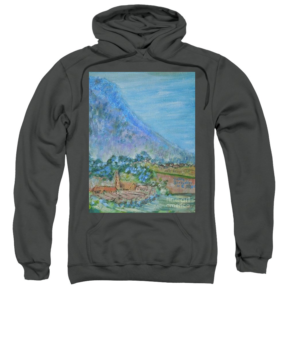 Landscape Sweatshirt featuring the painting Skyline Drive Begins by Judith Espinoza