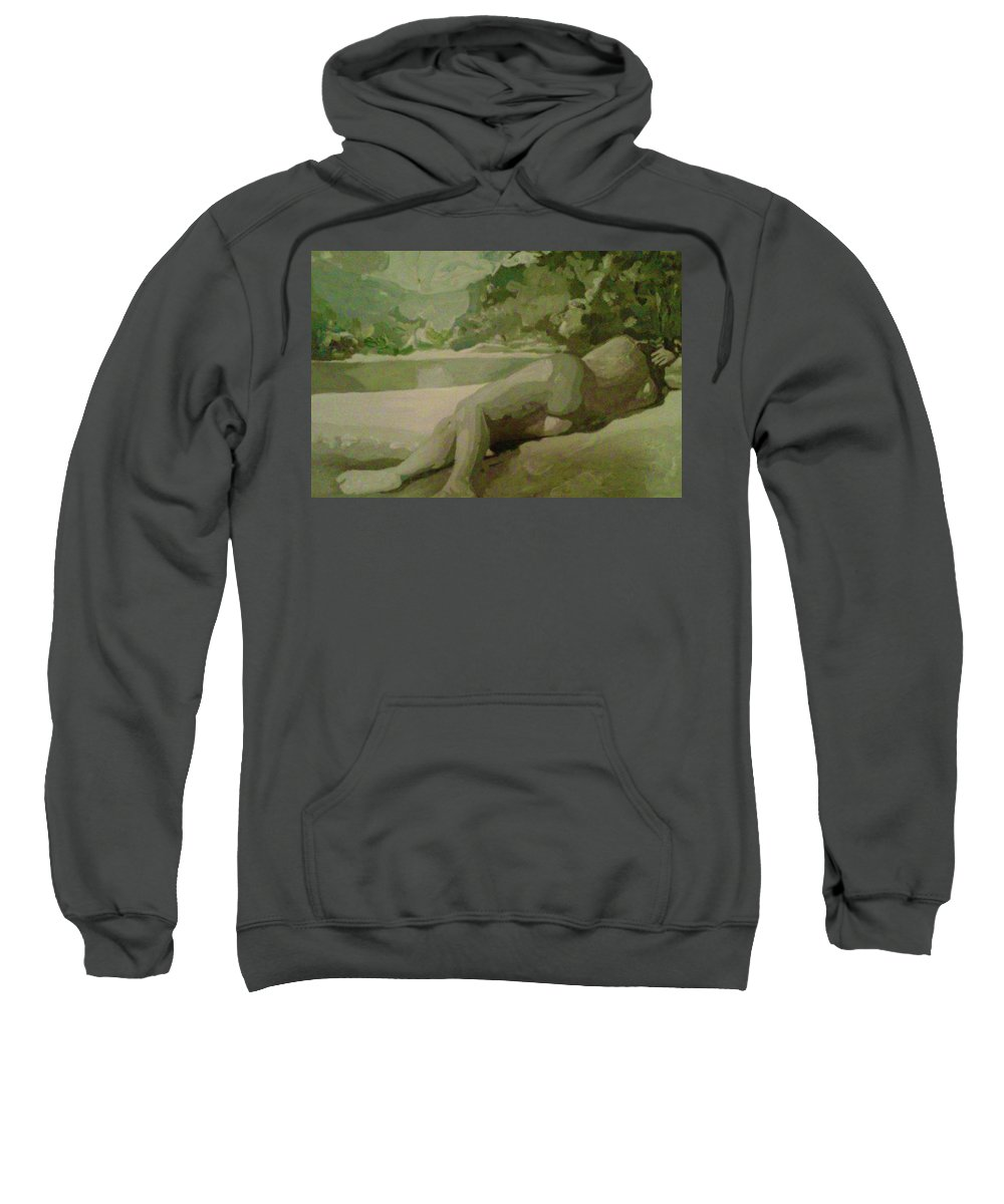 Sleep Sweatshirt featuring the painting Sleep Behind The River by Maria Rom