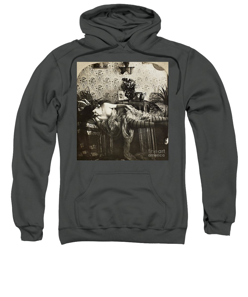 1900 Sweatshirt featuring the painting Sleeping Woman, C1900 by Granger
