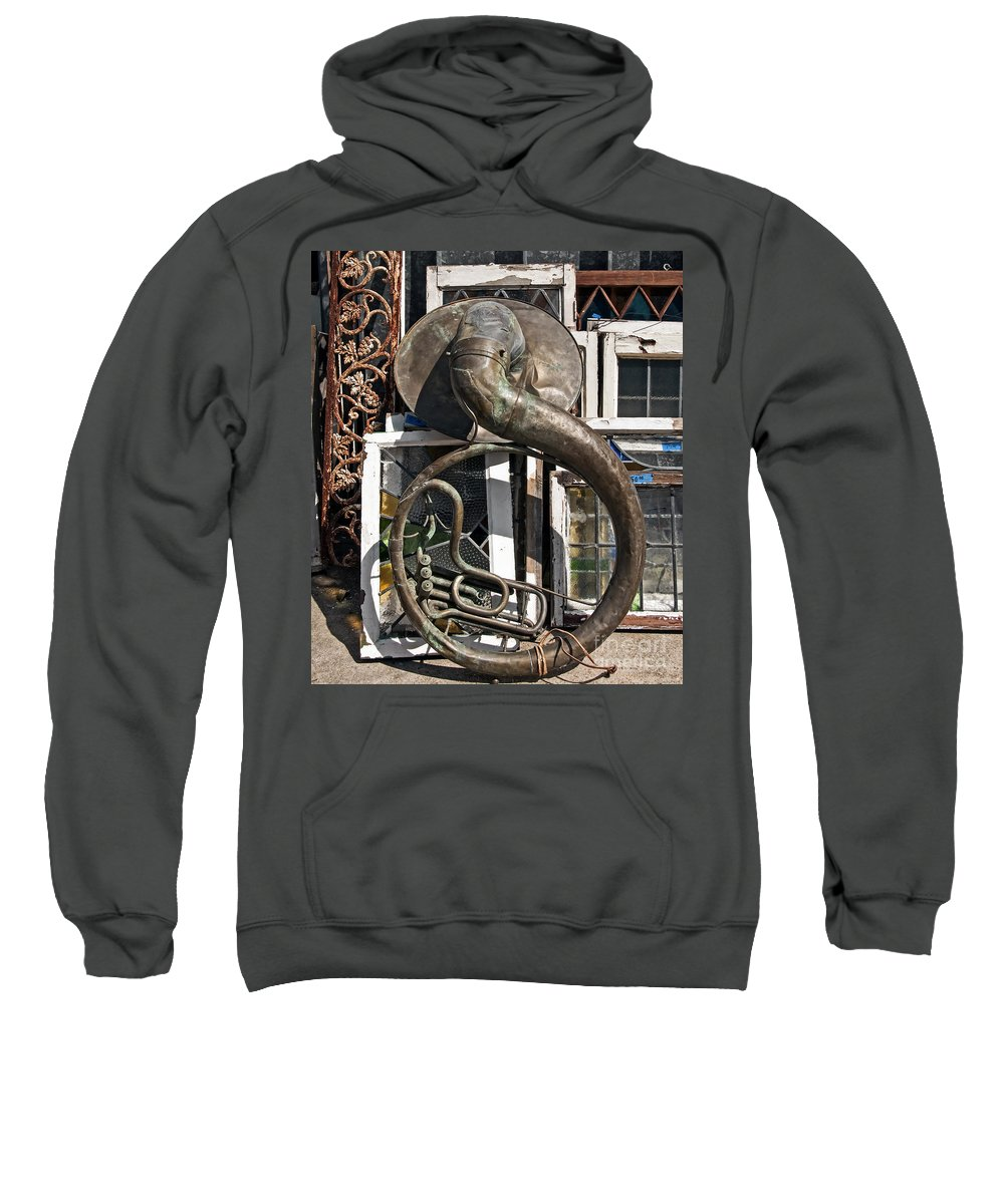 Tuba Sweatshirt featuring the photograph Slightly Worn Out Vintage Tuba Seeks New Home by Kathleen K Parker