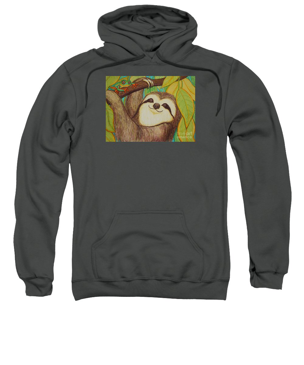Sloth Sweatshirt featuring the drawing Sloth And Frog by Nick Gustafson