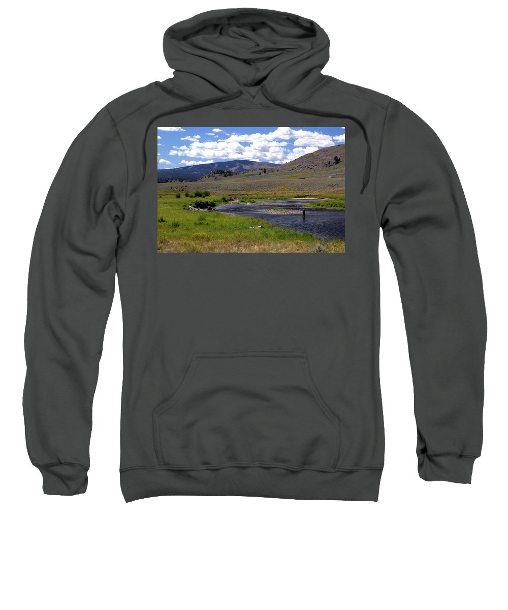 Yellowston National Park Sweatshirt featuring the photograph Slough Creek Angler by Marty Koch