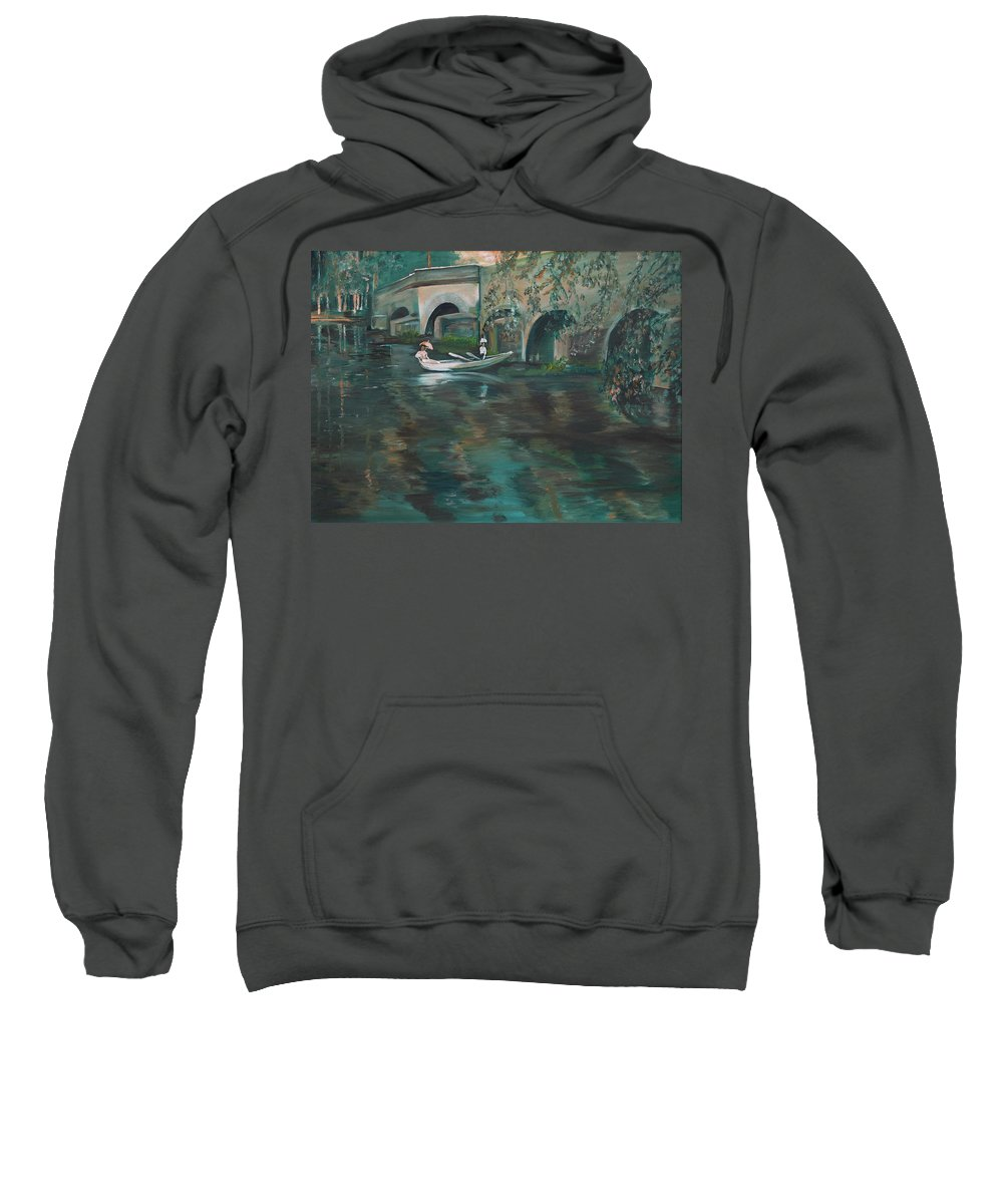 River Sweatshirt featuring the painting Slow Boat - Lmj by Ruth Kamenev