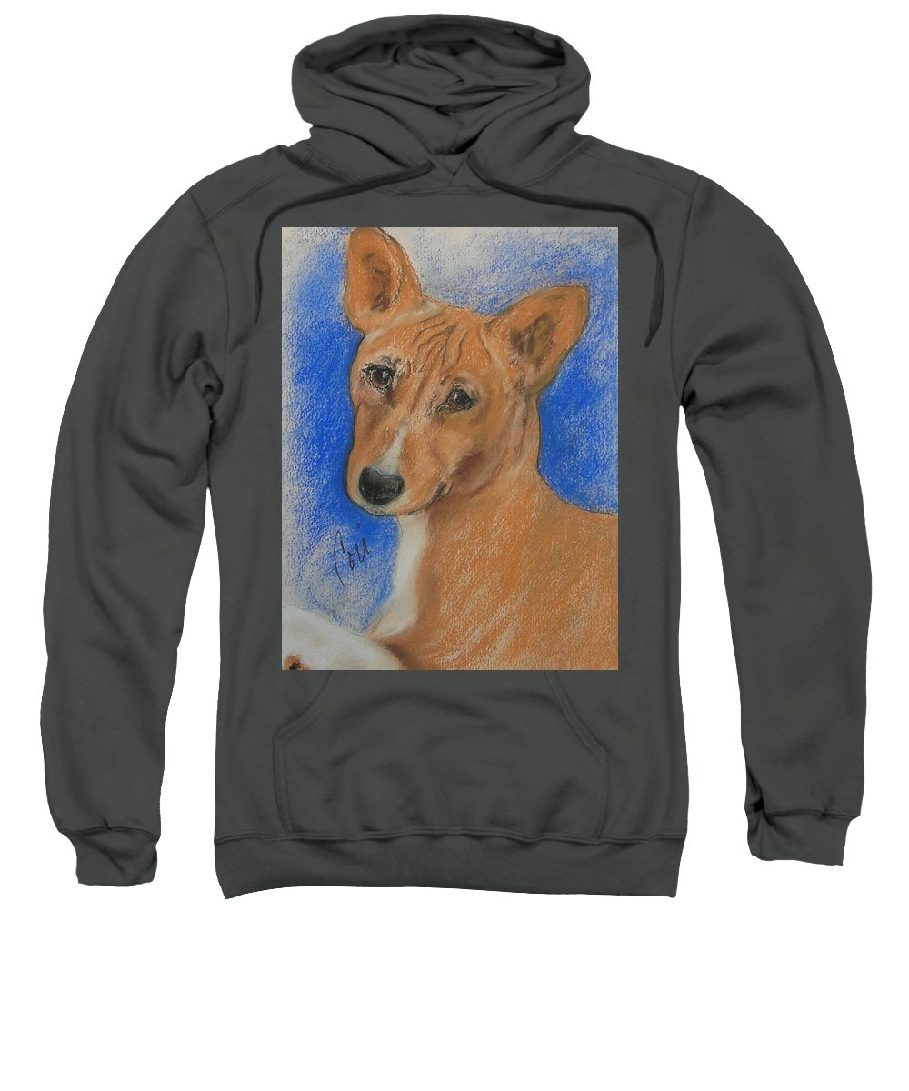 Dog Sweatshirt featuring the drawing Small And Mighty by Cori Solomon