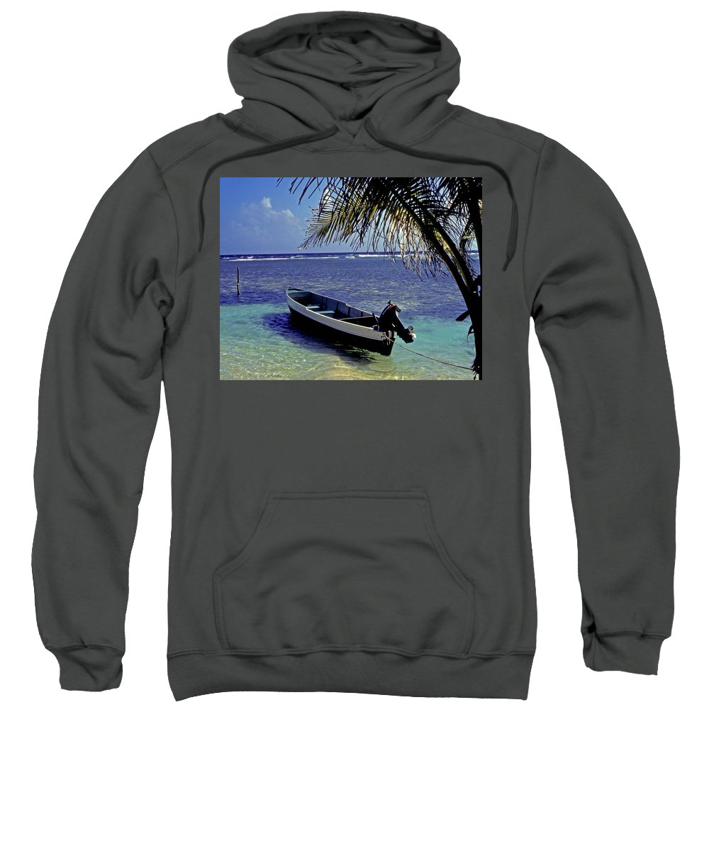 Boat Sweatshirt featuring the photograph Small Boat Belize by Gary Wonning