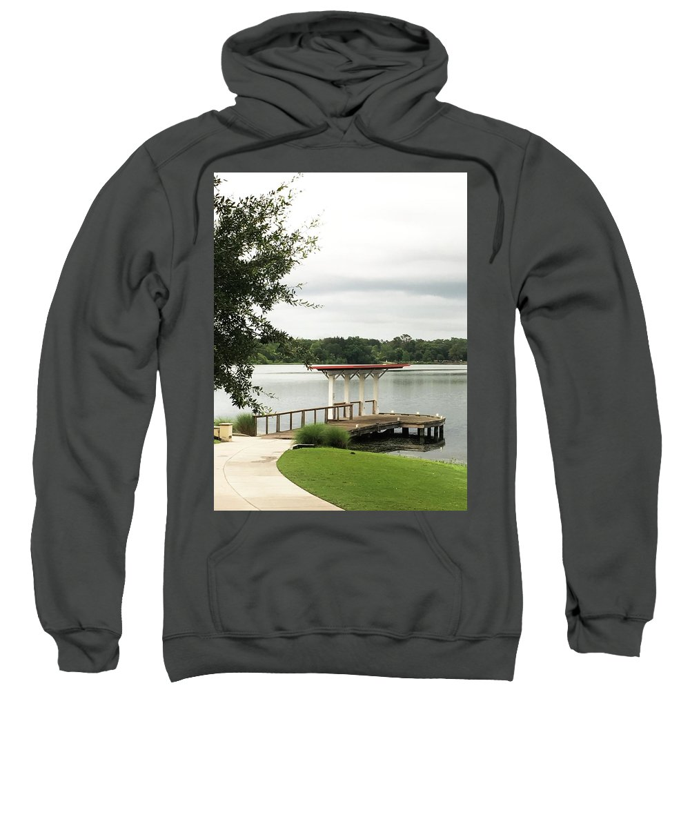 Lake Sweatshirt featuring the photograph Small Dock At Lake Baldwin by Kendall Tabor