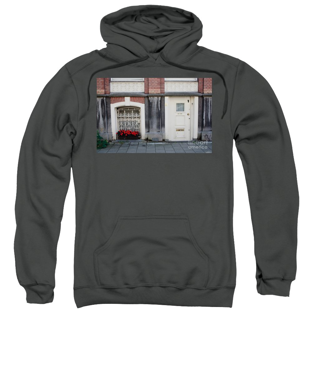 Flower Sweatshirt featuring the photograph Small Door And Flower Box Amsterdam by Thomas Marchessault