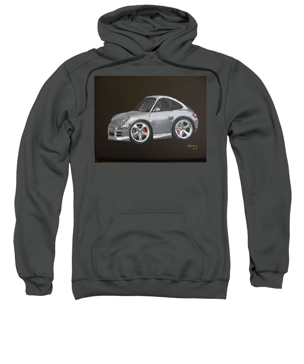 Car Sweatshirt featuring the painting Smart Porsche by Richard Le Page