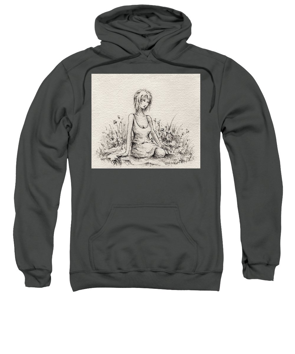 Woman Sweatshirt featuring the drawing Smell The Roses by Rachel Christine Nowicki