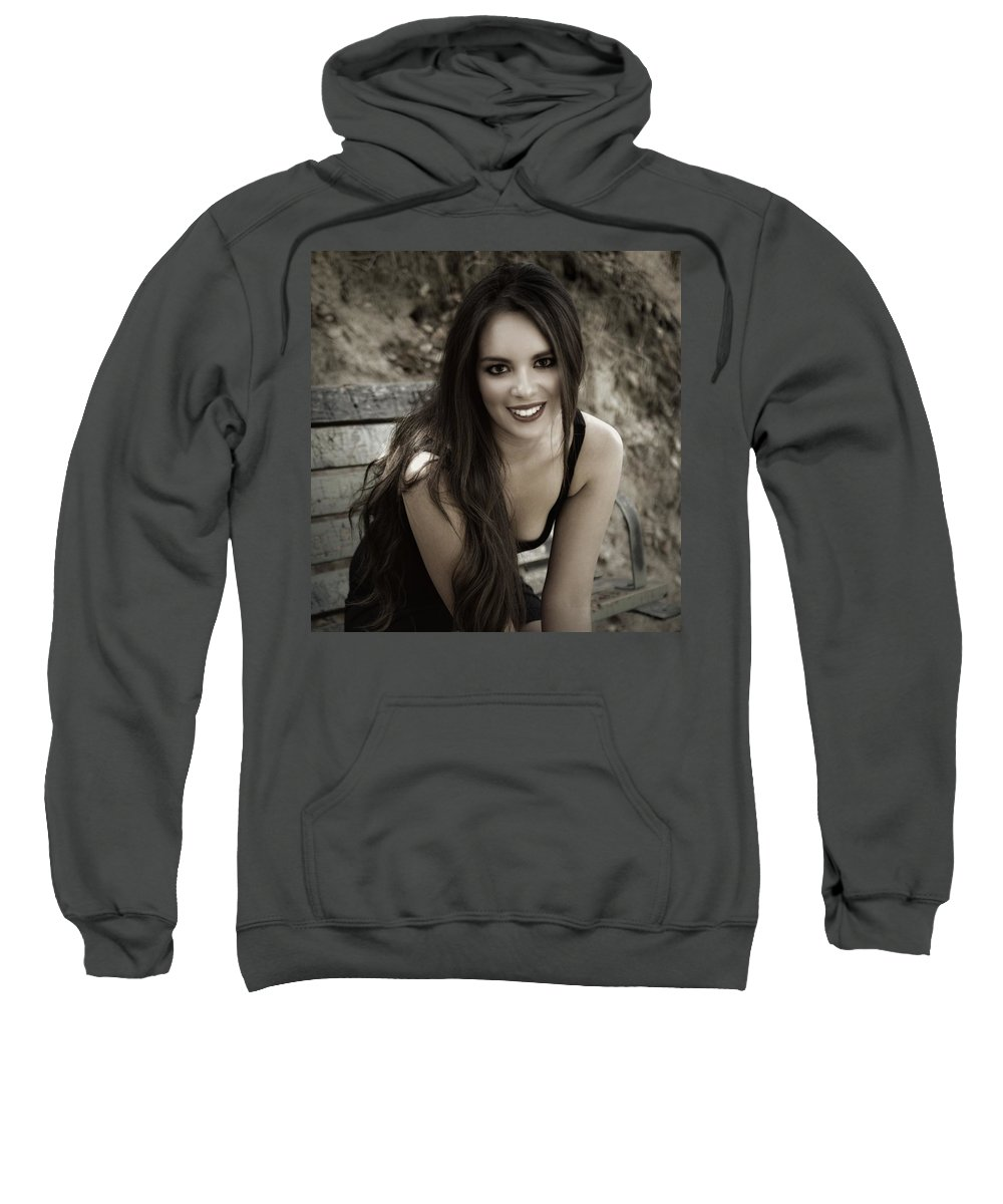 Smiling Sweatshirt featuring the photograph Smiling Beauty by Dawn Van Doorn