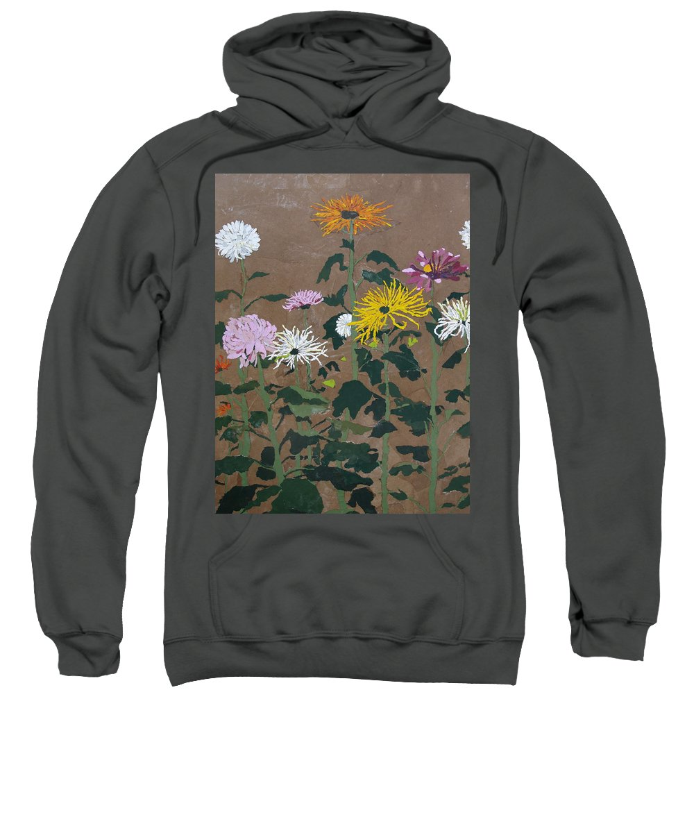 Collage Sweatshirt featuring the painting Smith's Giant Chrysanthemums by Leah Tomaino
