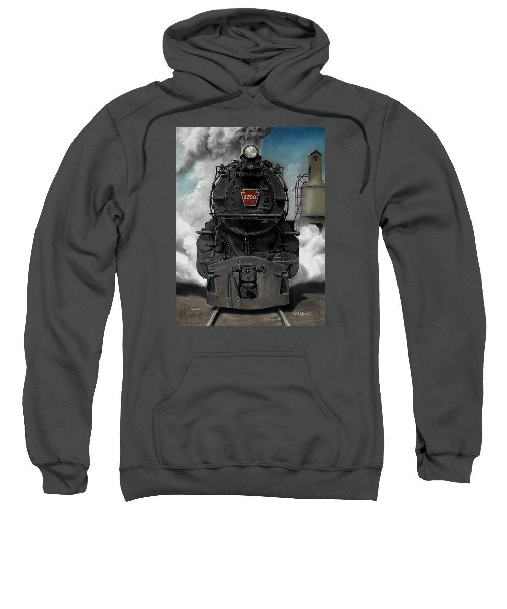 Trains Sweatshirt featuring the painting Smoke And Steam by David Mittner
