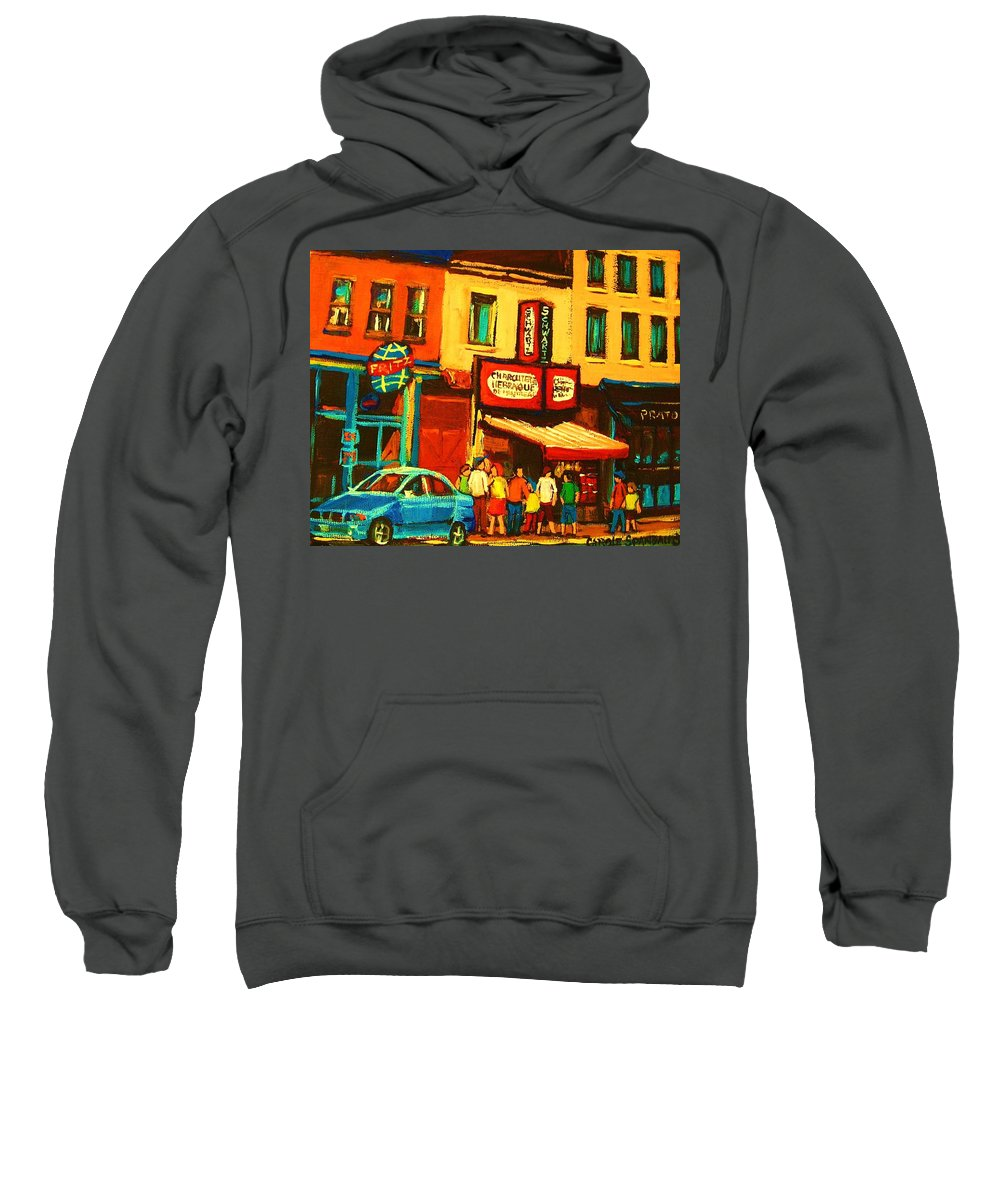 Montreal Smoked Meat Restaurants City Scenes Sweatshirt featuring the painting Smoked Meat Sandwiches Await by Carole Spandau