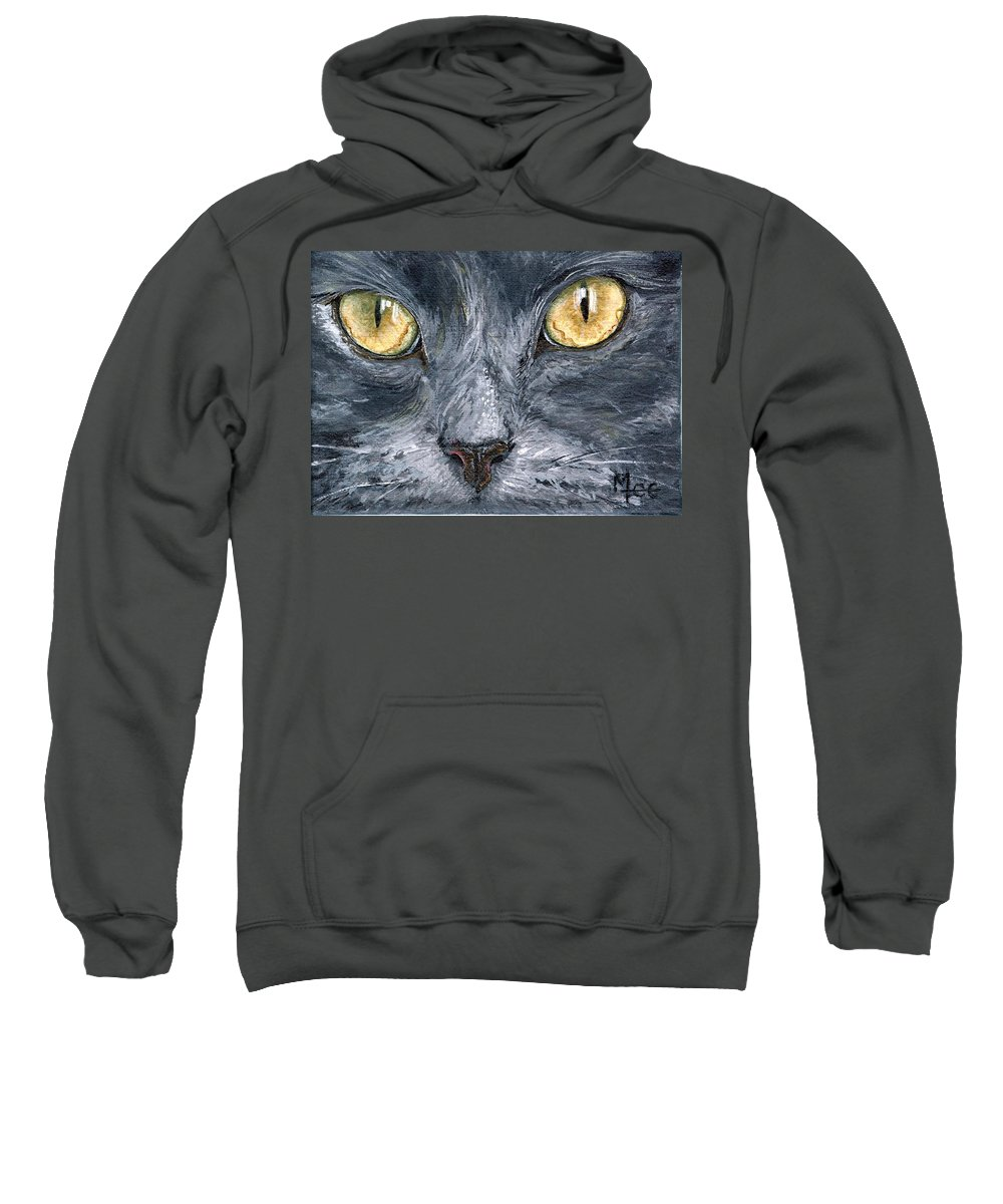 Charity Sweatshirt featuring the painting Smokey by Mary-Lee Sanders