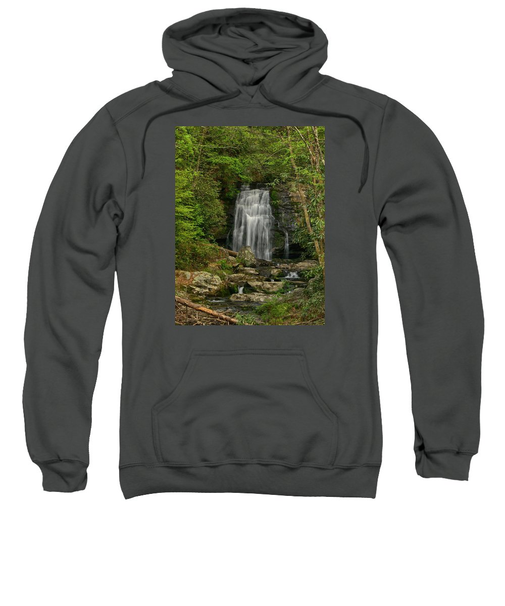 Ann Keisling Sweatshirt featuring the photograph Smokey Mountain Waterfall by Ann Keisling