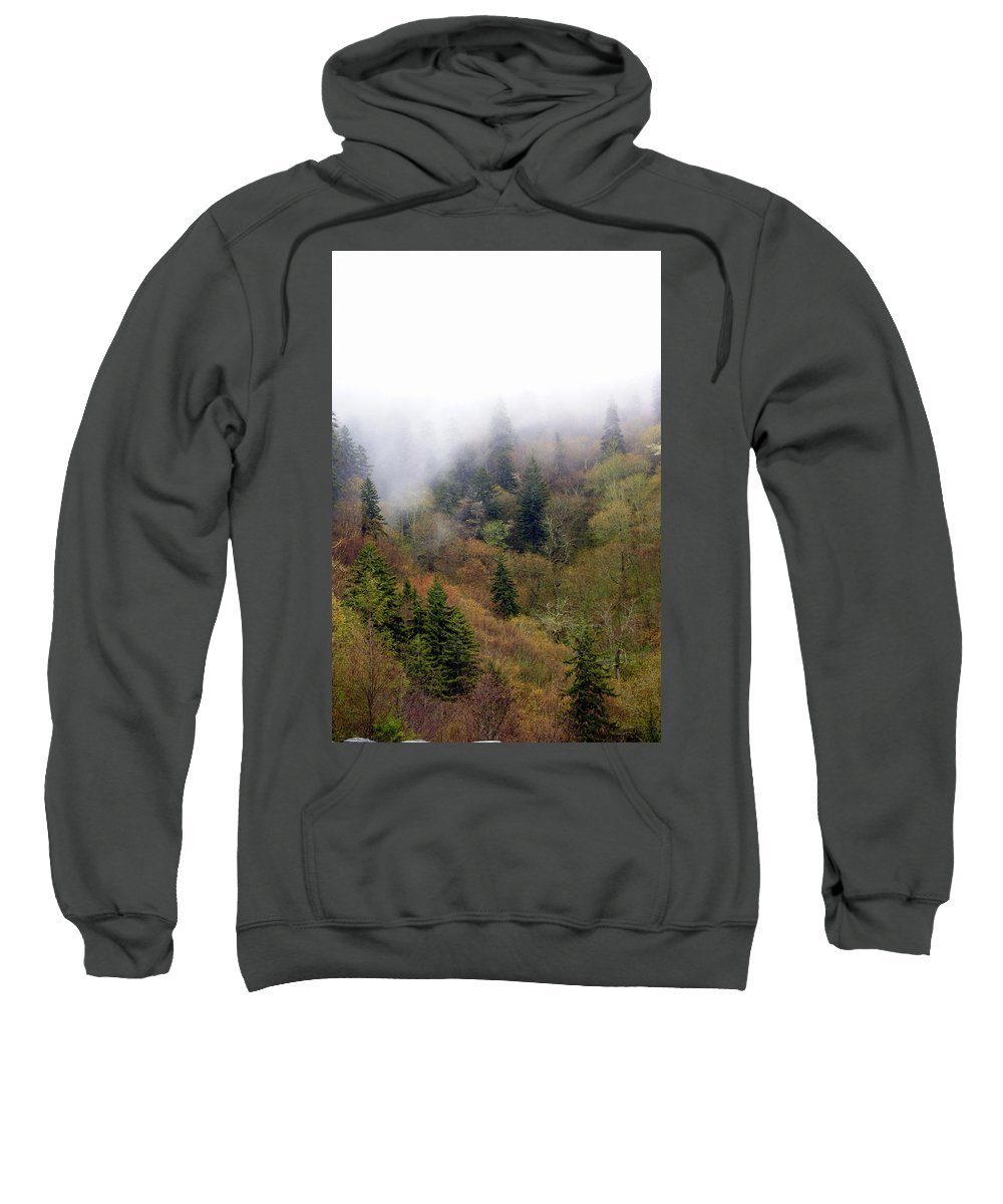 Fog Sweatshirt featuring the photograph Smoky Mount Vertical by Marty Koch