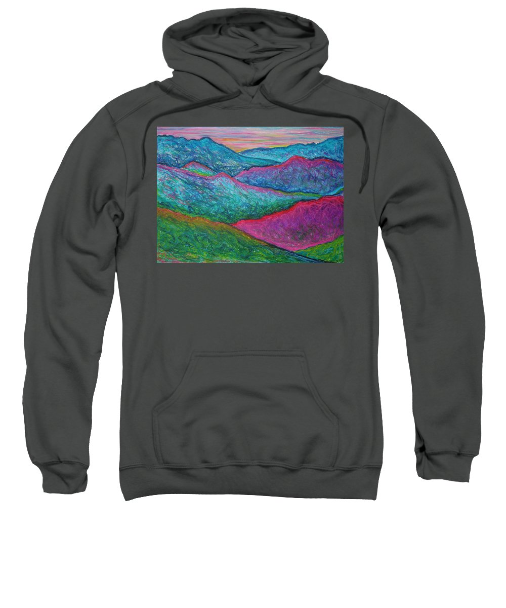 Oil Pastels Sweatshirt featuring the painting Smoky Mountain Abstract by Nancy Mueller