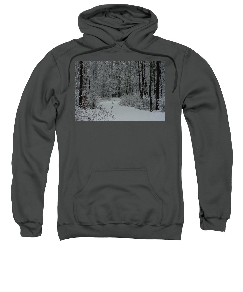 Snow Sweatshirt featuring the photograph Snow Covered Path Into The Woods by Alice Markham