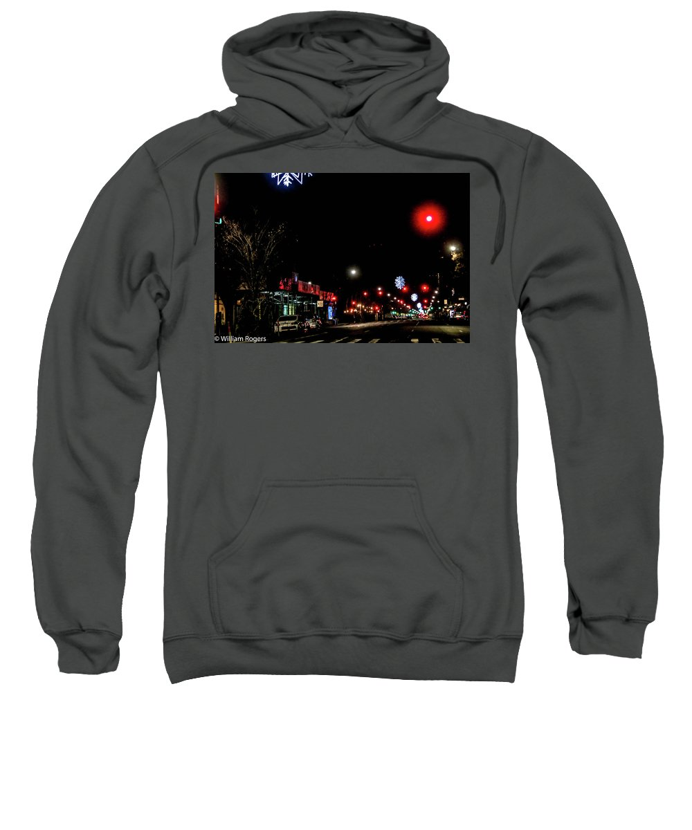 This Is A Photo Of Columbus Avenue With All The Snowflakes Decorated Down The Street For The Holidays Sweatshirt featuring the photograph Holiday Lights by William Rogers