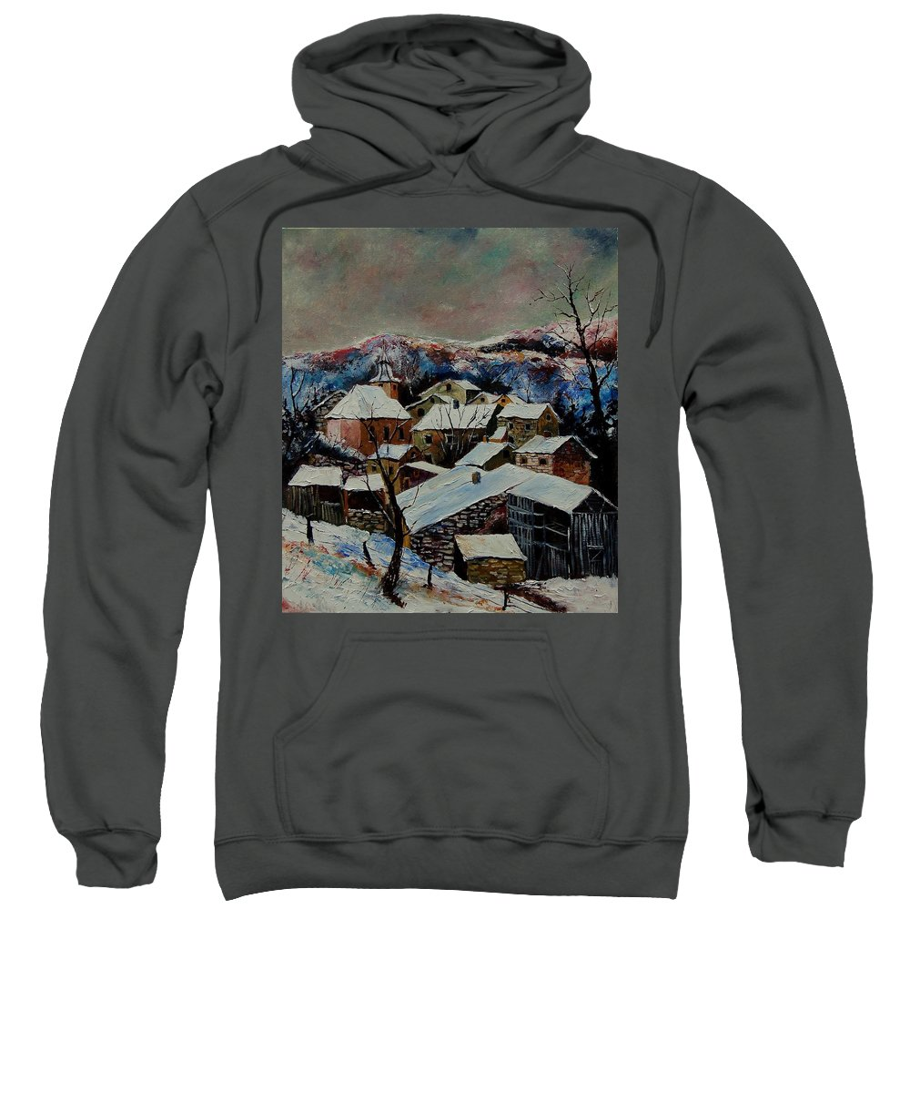 Winter Sweatshirt featuring the painting Snow In Laforet 78 by Pol Ledent