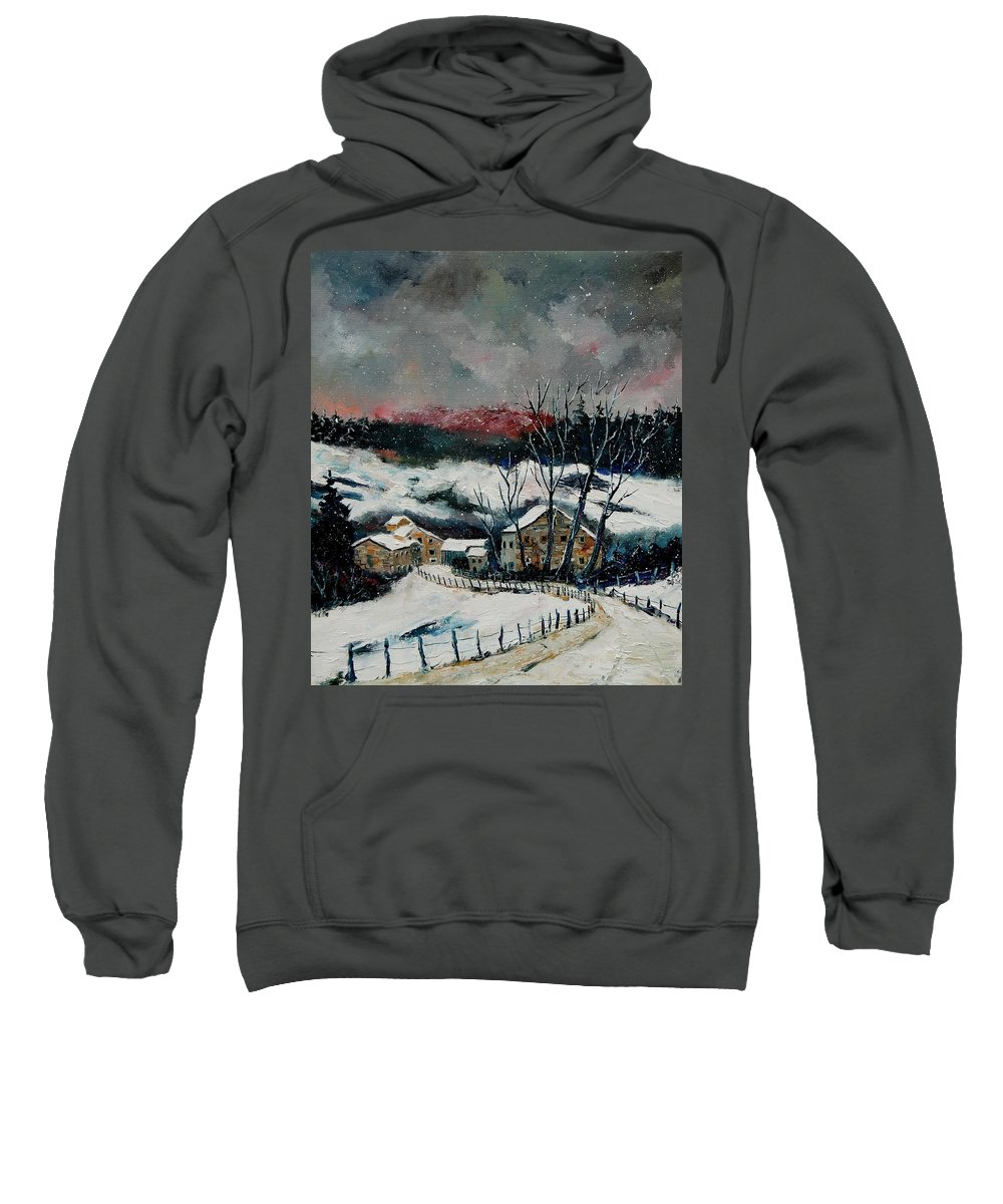 Winter Sweatshirt featuring the painting Snow In Sechery Redu by Pol Ledent