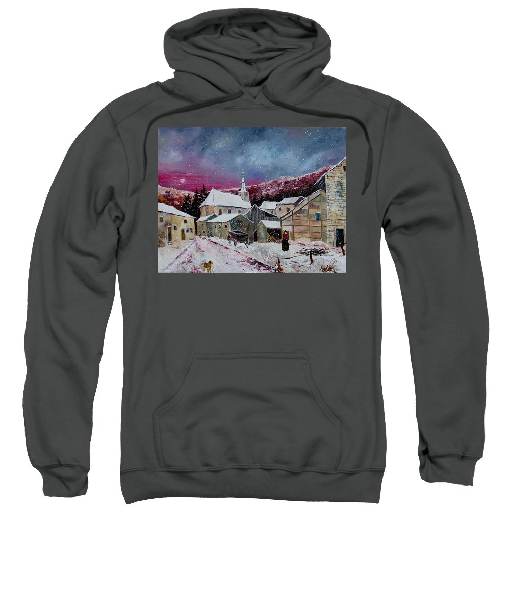 Snow Sweatshirt featuring the painting Snow Is Falling by Pol Ledent