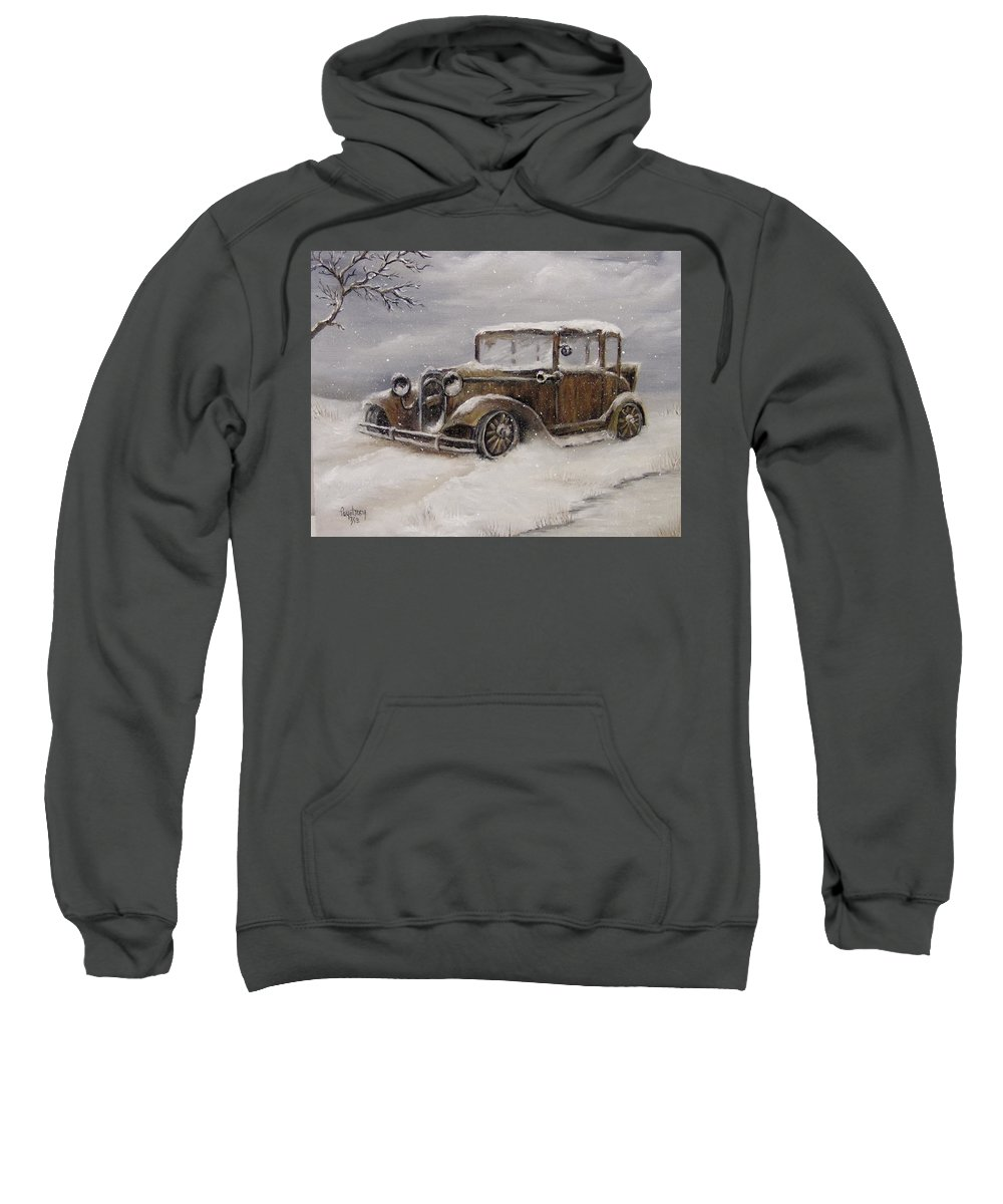 Scenery Sweatshirt featuring the painting Snowed In by Faye Tracy