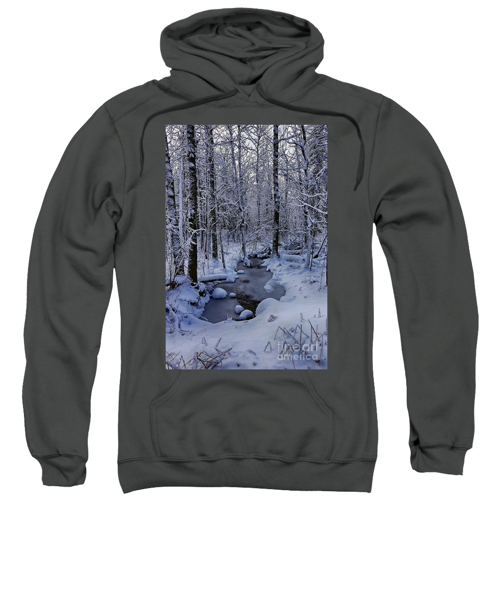 Snow Sweatshirt featuring the photograph Snowy Creek by Bryan Benson