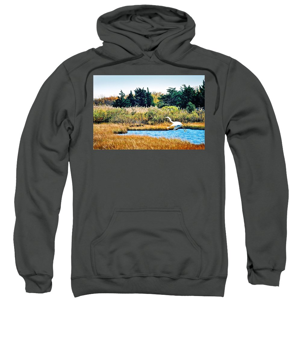 Landscape Sweatshirt featuring the photograph Snowy Egret-island Beach State Park N.j. by Steve Karol